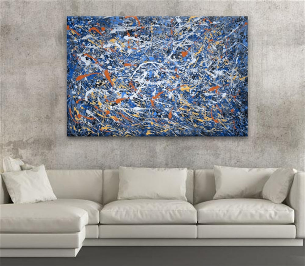 abstract oil painting with blue touches for interior