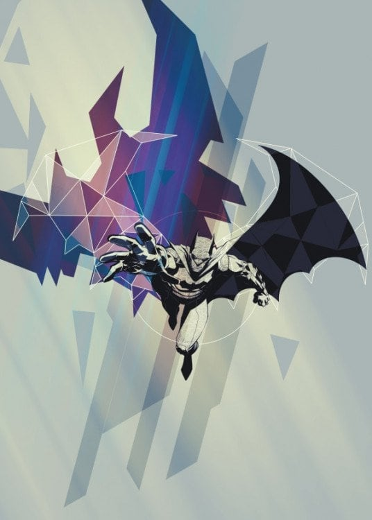Metal poster of batman with a colorful touch