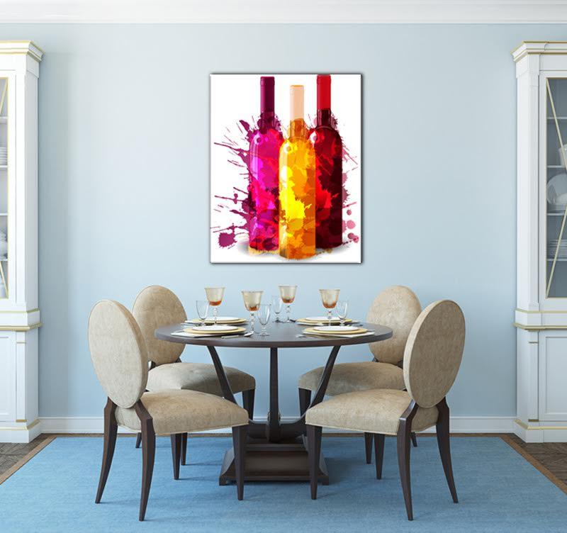 tableau contemporain bouteilles de couleur - artwall and co - Cadre Cuisine Design