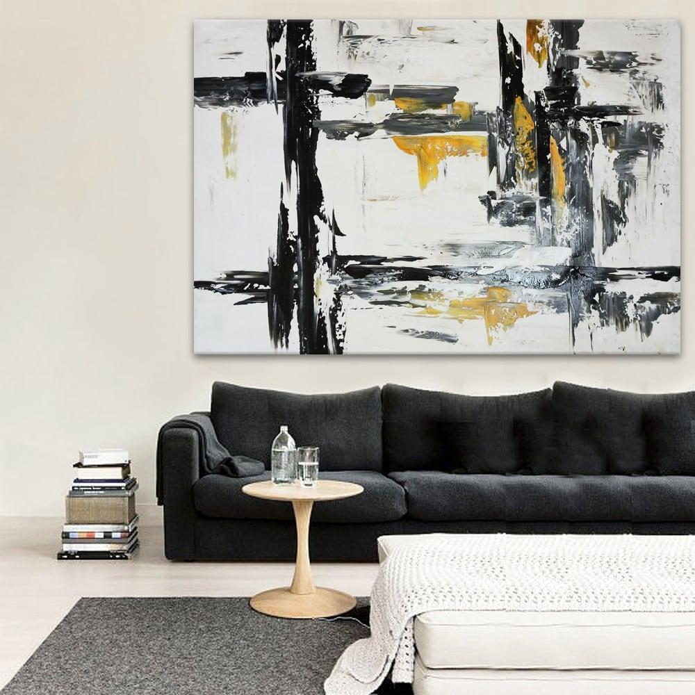 Toile peinture brush pour une décoration murale abstraite et contemporaine