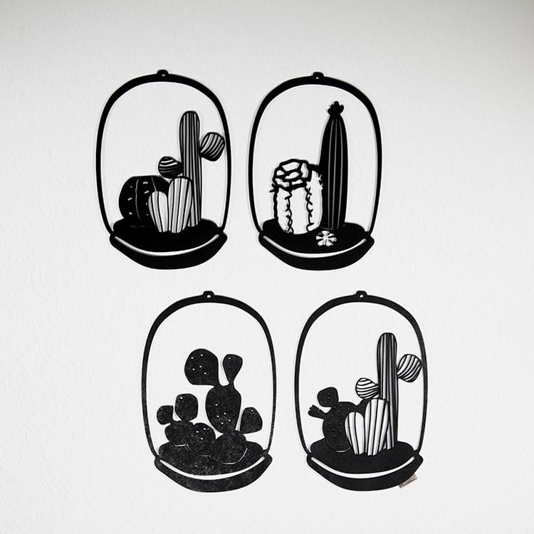 Cactus wooden wall decoration for a nature interior
