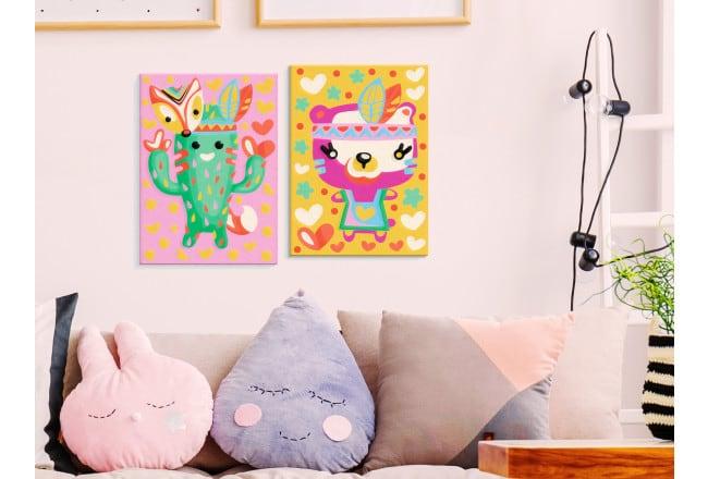 Tableau à peindre pour enfant de cactus et d'un ours pour leur déco murale