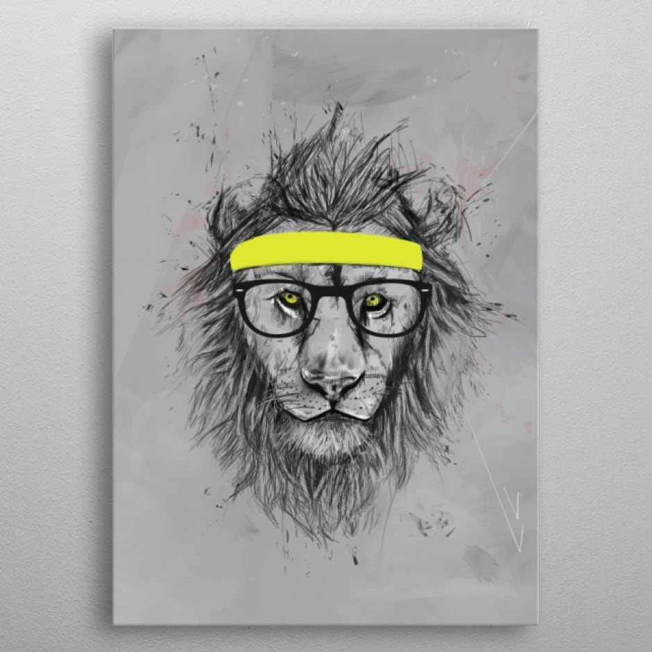 Hipster lion metal wall poster from the artist Balázs Solti