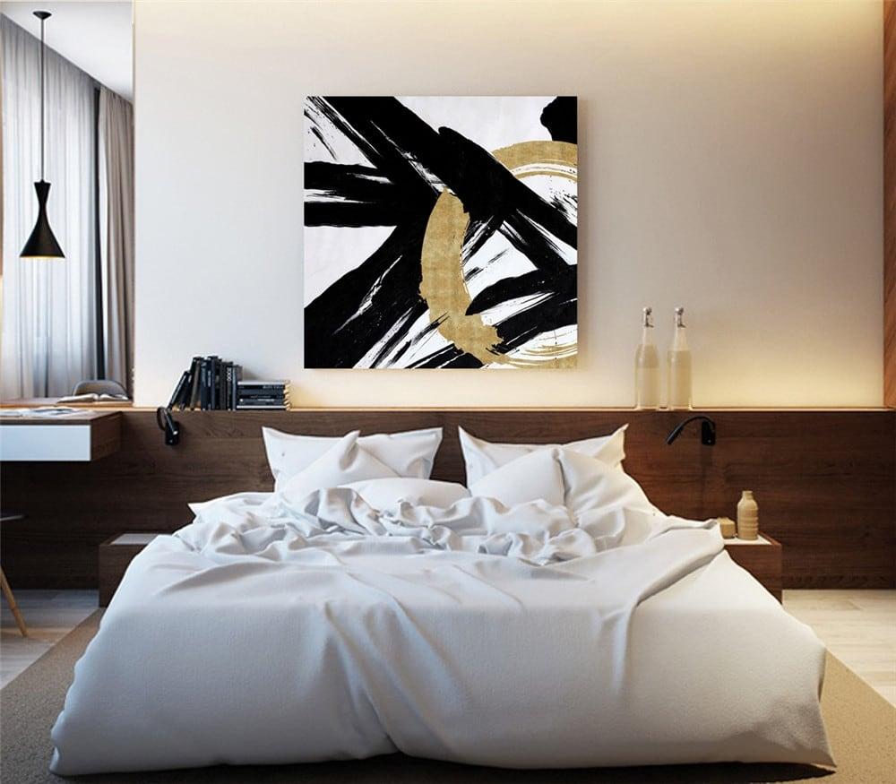 Toile peinture murale or et noir au style moderne