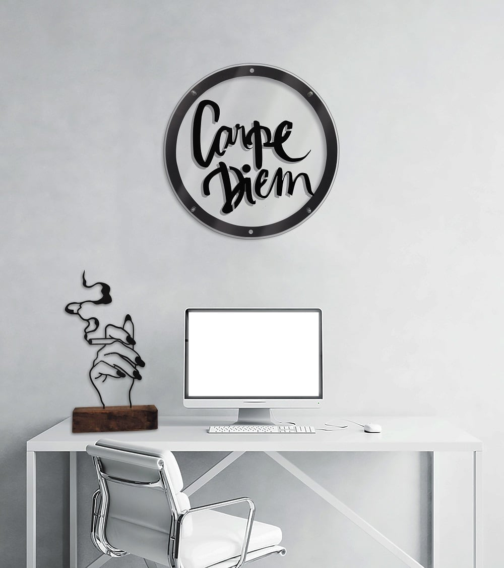 Carpe diem metal wall decoration for a philosophy interior