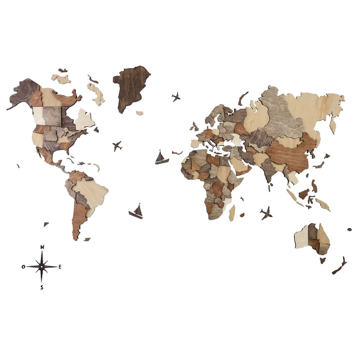 Décoration murale en bois de la carte du monde en 3D