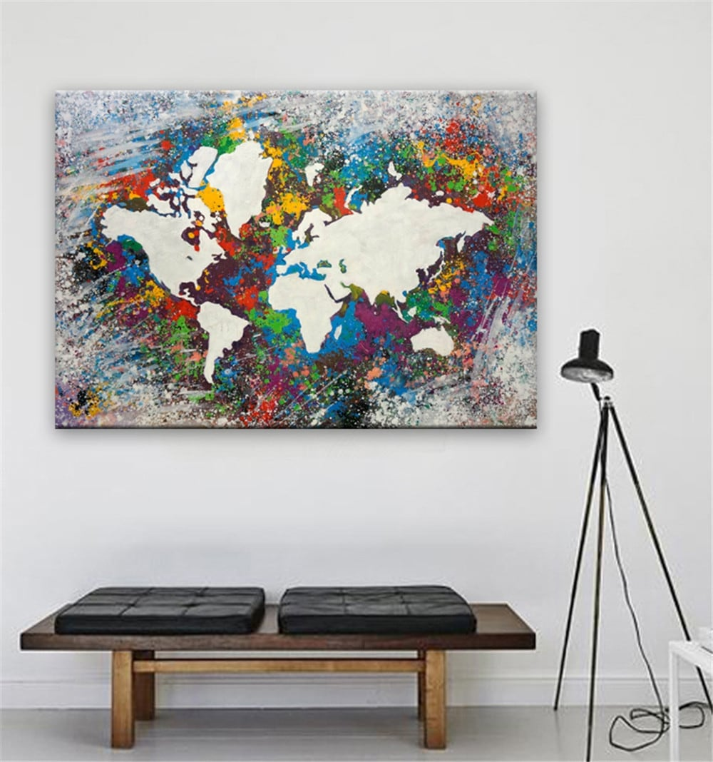Graffiti world map oil painting for a unique interior decoration