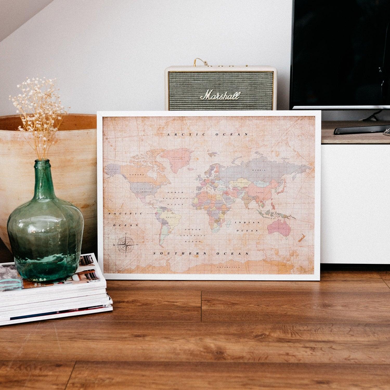 Vintage cork worldmap decoration for design interior