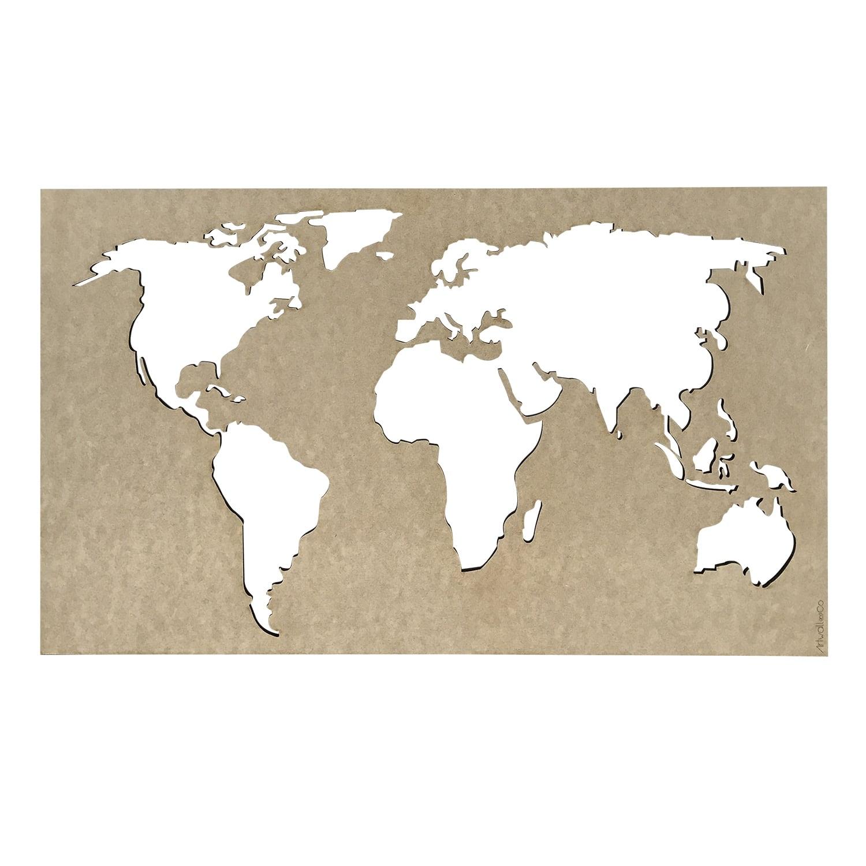 World map wood design decoration for stylish interior