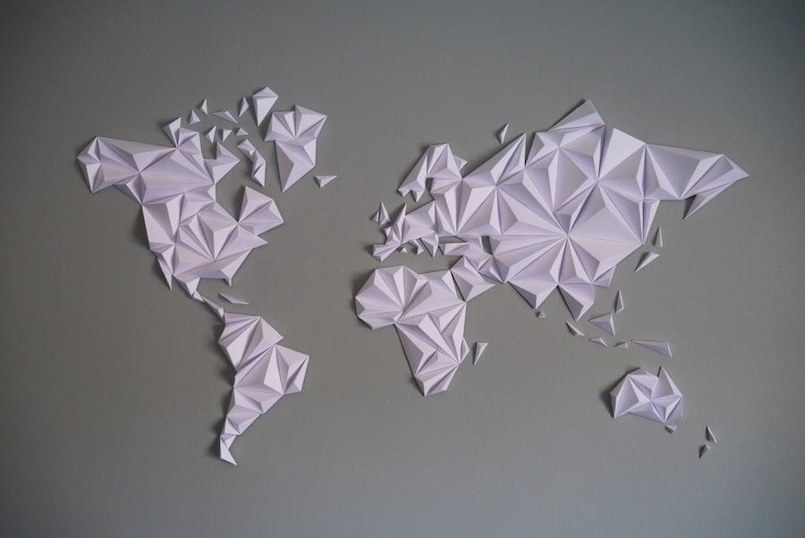 Paper world map in white for a unique interior decoration