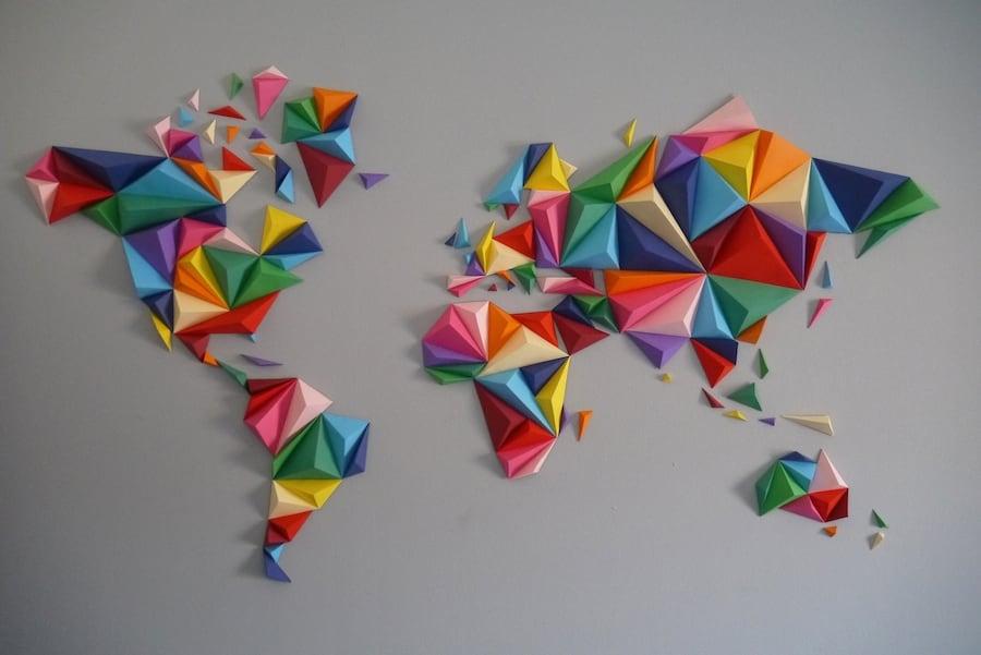 Multicolor world map paper decoration for a unique interior