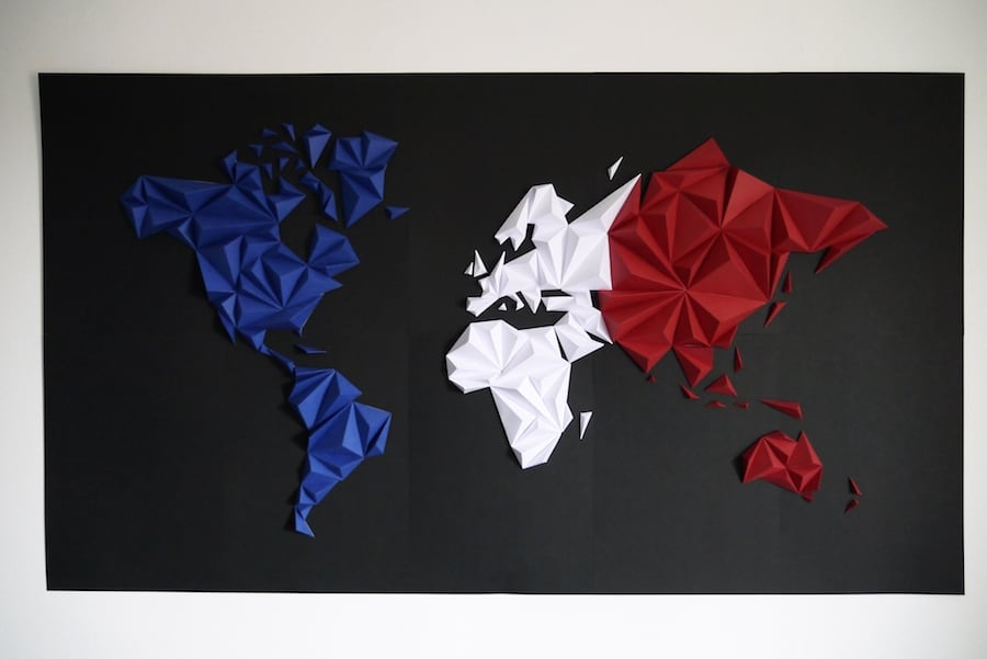 Tricolor world map paper decoration for a trendy wall