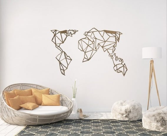 Wood world map decoration for a trendy and modern interior