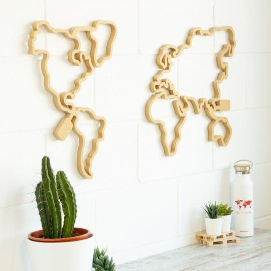 Carte du monde bois Leds pour éclairer votre décoration murale avec une touche design