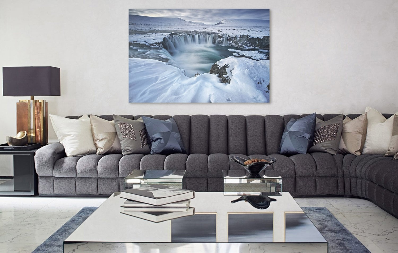 Photo d'art nature et zen d'une cascade gelée pour votre décoration