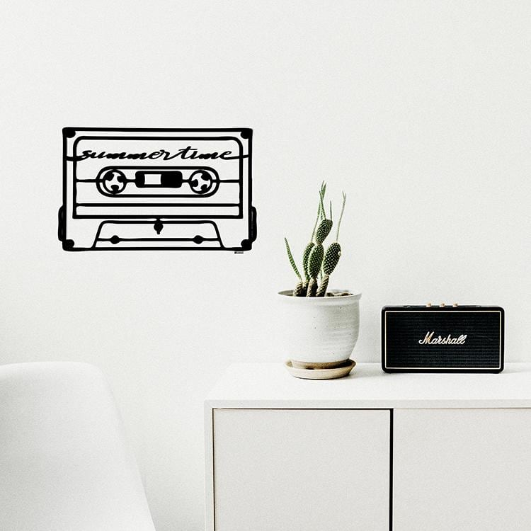 Décoration murale en bois d'une cassette vintage pour un intérieur déco