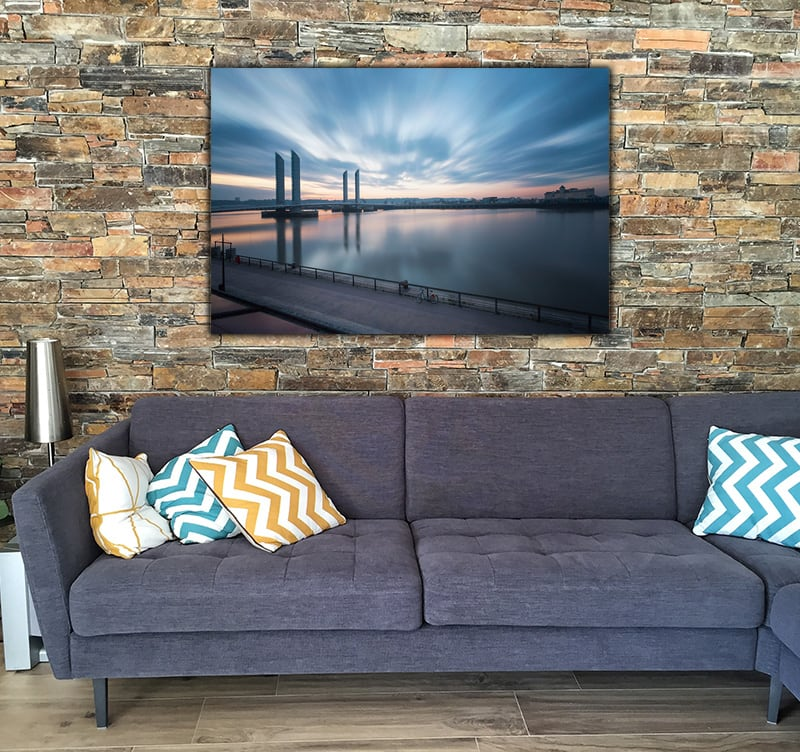 Wall decoration of Chaban's Sunrise with a bridge and the see to create a zen style on your wall decoration