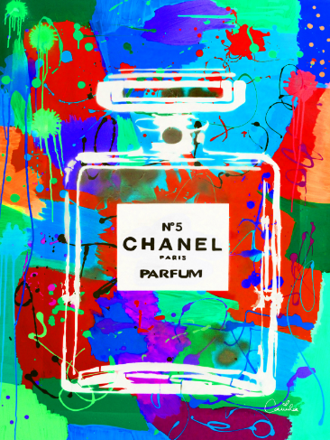 Chanel n5 perfume on a pop art wall canvas for a fashion interior