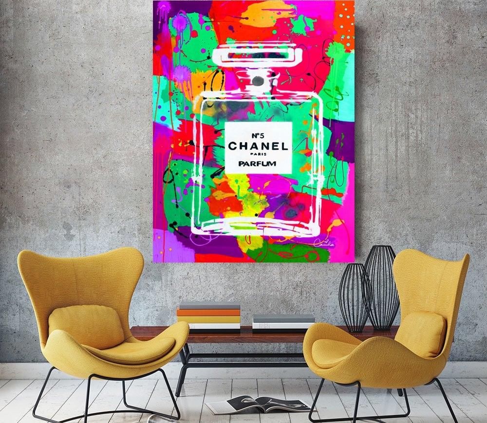 Tableau murale pop art du parfum chanel 5 pour décoration design
