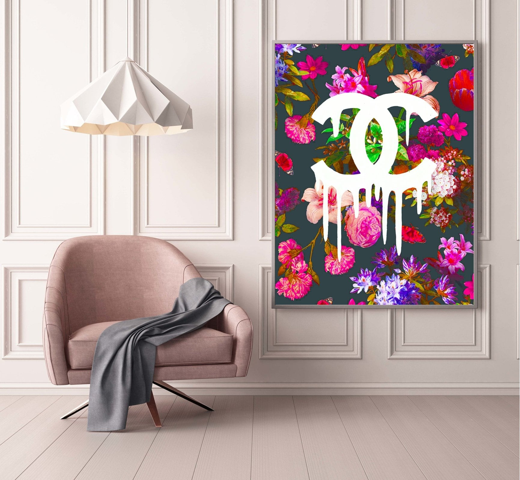 Chanel flowers modern canvas prints for interior