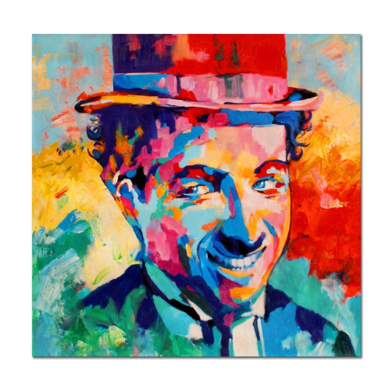 Peinture contemporaine en tableau moderne de charlie chaplin