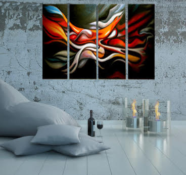 Tableau peinture à l'huile abstrait en quatre panneaux pour une décoration intérieure moderne