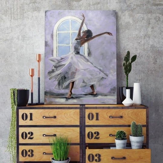 Dancer wall decoration on canvas for a contemporary interior