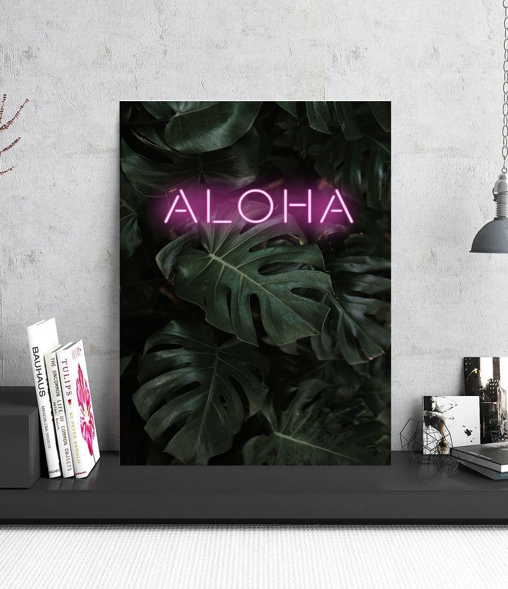 Tableau deco aluminium de la célèbre phrase aloha pour un intérieur tendance