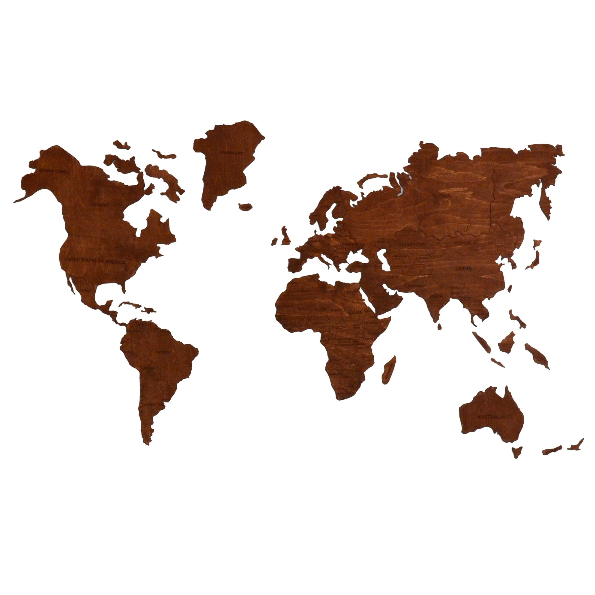 Map wall decoration in wood for a trendy interior