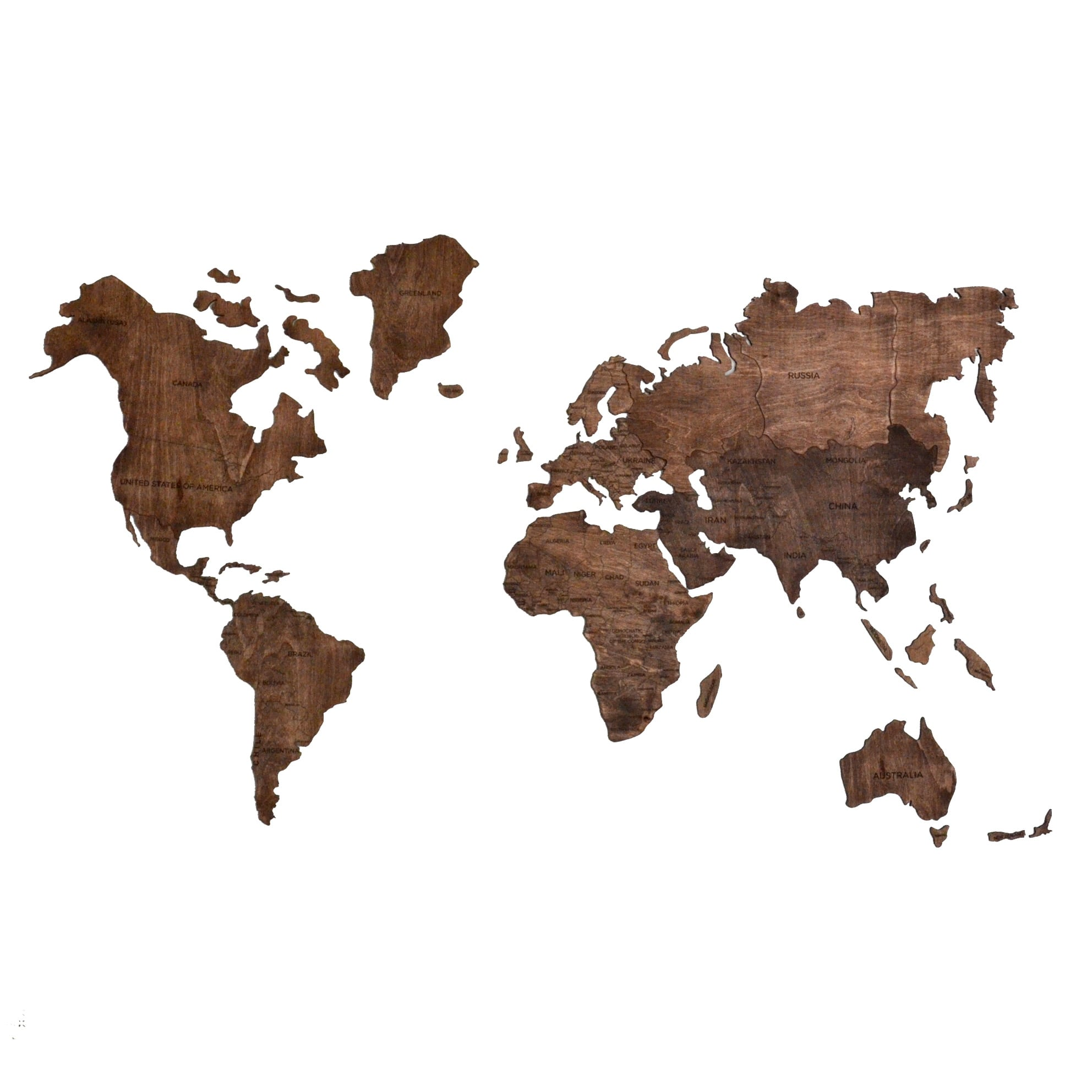 Wooden wall map decoration for design interior
