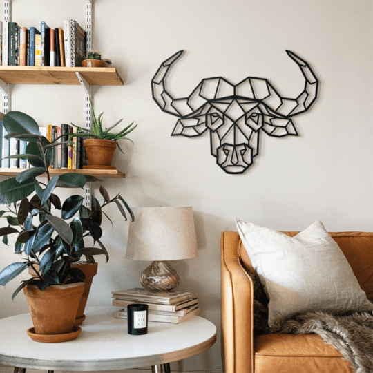 Buffalo metal wall decoration for a nature interior