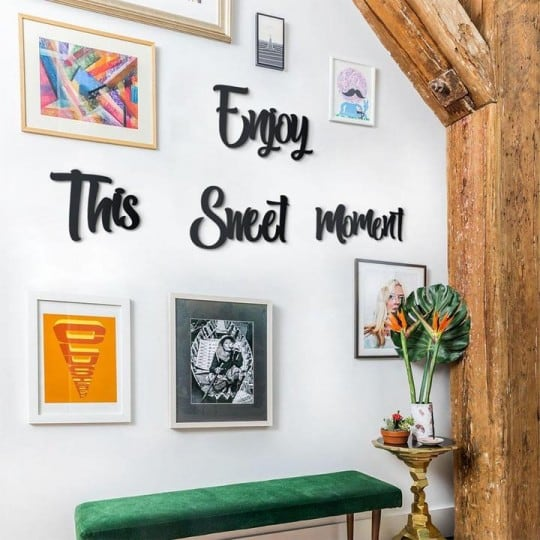 Metallic wall decoration of enjoy the sweet moment for modern interior