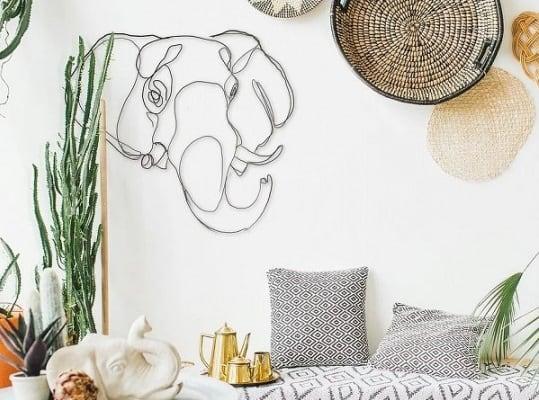 Décoration murale éco responsable de trophée d'éléphant pour votre intérieur