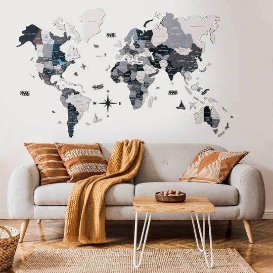 Décoration carte du monde en bois 3D au style scandinave pour votre intérieur