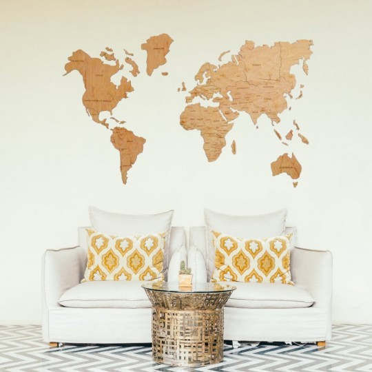 Wood world map in wall decoration for your modern interior