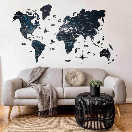 Black wooden world map for a design wall decoration