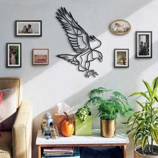 Golden eagle in metal decoration for stylish interior