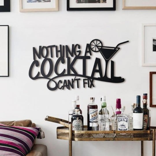 Cocktail metal wall decoration for a modern interior