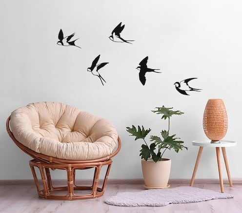 Big birds metal wall decoration for a modern interior
