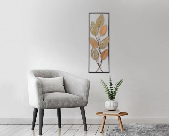 Metal wall decoration of flowers and metal plants for a designer interior