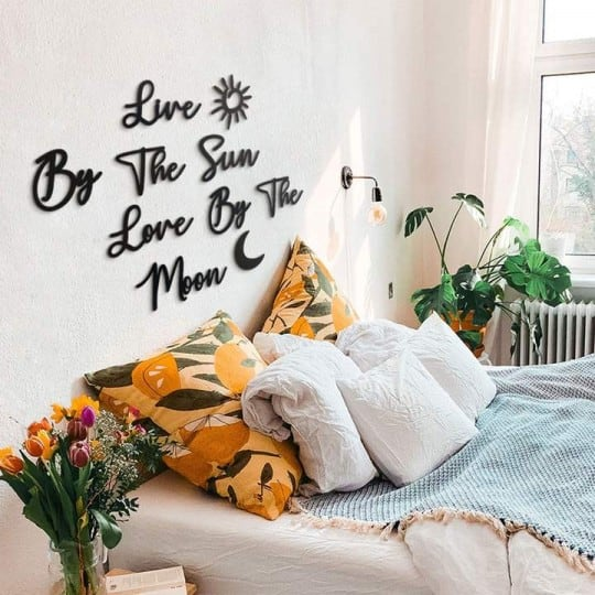 Sun wall decoration quote in metal for an unique interior