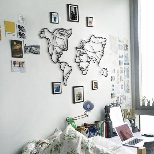 Carte du monde aux deux visages en deco metal design