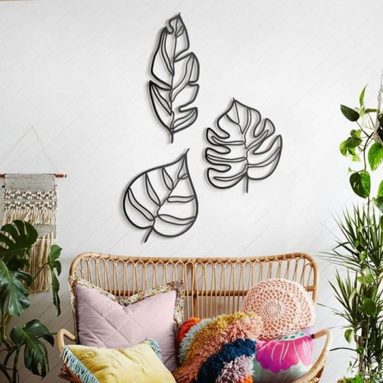 Leaf metal wall decoration for exotic interior