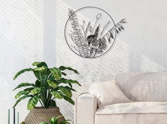 Eco friendly wall decoration of flora for a modern interior style
