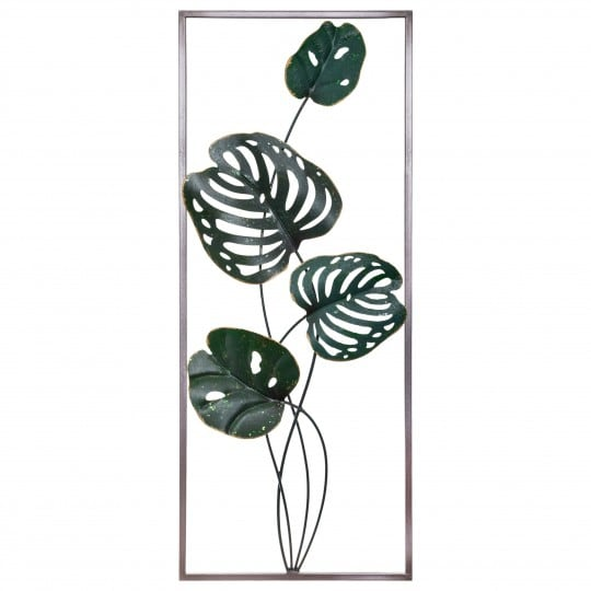 Metal wall decoration frame of monstera leaf design for a natural design touch
