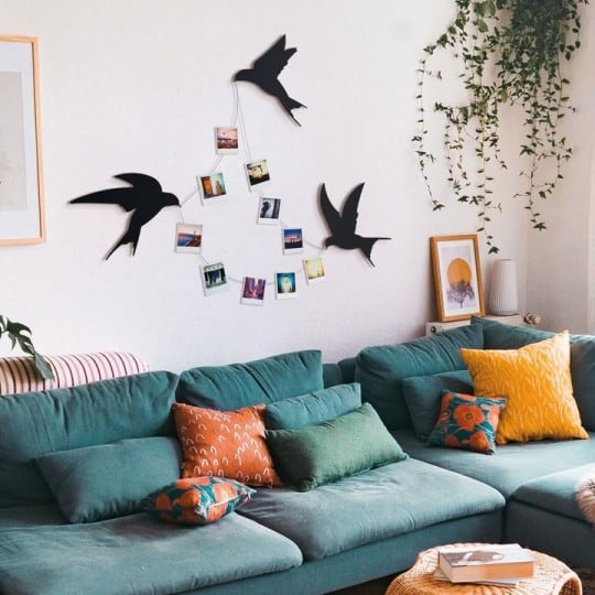 Birds metal wall decoration for an unique interior or living room