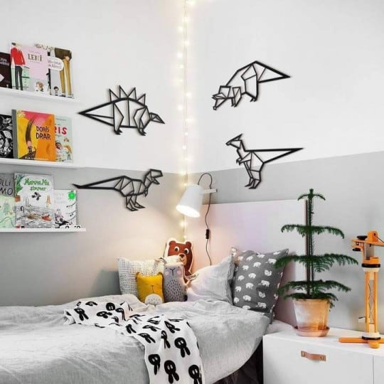 Dinosaur metal wall decoration for a modern children bedroom