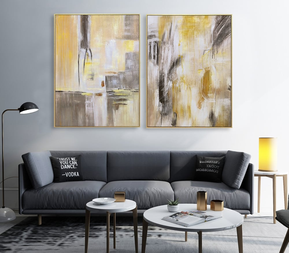 Diseria wall abstract painting in two frames for interior
