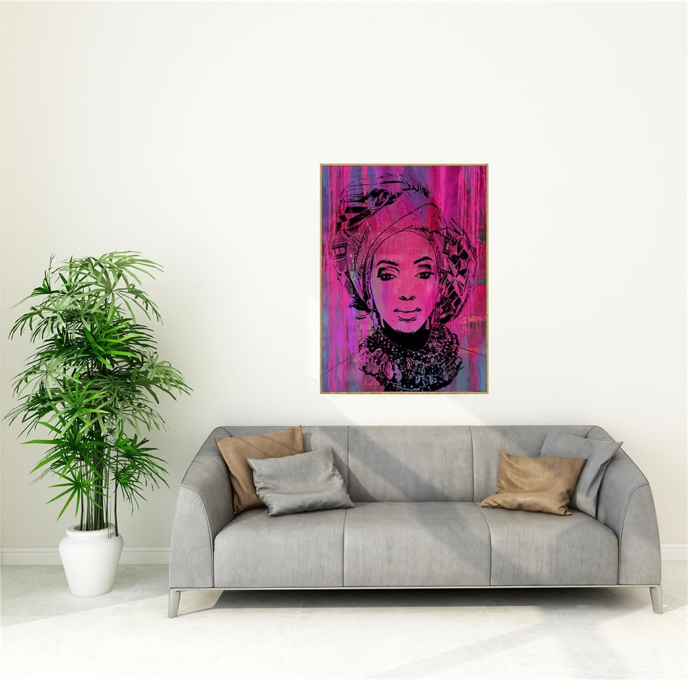 African woman pop art painting for colorful wall interior