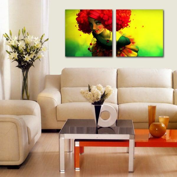 Présentation de notre tableau abstrait Femme fleur aux couleurs extraordinaires